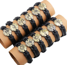 Free Shipping Wholesale mens women Leather Bracelets hand-knitted bracelets zodiac gift virgo cancer scropio leo pisces arise gemini
