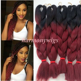 Wholesale Kanekalon jumbo synthetic braiding Hair Bulk Folded inch g Black burdundy Ombre Two Tone Crochet braids Twist Hair Extension