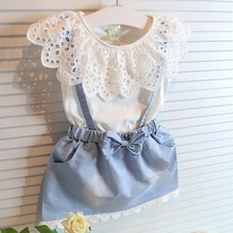 Girls Denim Set The Littlle Baby Girls Lace Sets T-shirt +Short Girls Flower Outfits Cotton100% 2PC Suits 2016 New Hot Summer