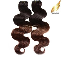 Ombre Human Hair Dip Dye Two Tone T1b #4 Body Wave Wavy Brazilian Hair Weave 2or3or4pcs lot Hair Extensions Bellahair 8A