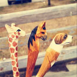 Wholesale 5pcs Handmade Ballpoint Pen Lovely Artificial Wood Carving Animal Ball Pen Creative Arts