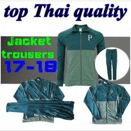top Thai quality 17 18 Palmeiras SOCCER JACKET + pants HOME GREEN DUDO G.JESUS JEAN ALECSANDRO Palmeiras Brazil Football training suits set