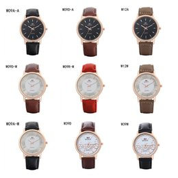 Fashion business mens watches power reserve watch GTWH9,Quartz Wrist watches rose gold Round dial strap watches 6 pieces a lot mix color