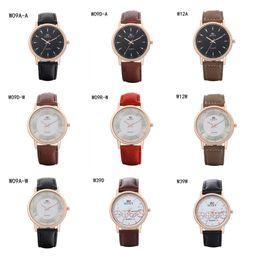 Descuento relojes de pulsera piezas hombre de negocios de la manera mira el reloj GTWH9 reserva de marcha, relojes de pulsera de cuarzo color de rosa de la correa Dial redondo de oro relojes 6 pedazos una porción del color de la mezcla