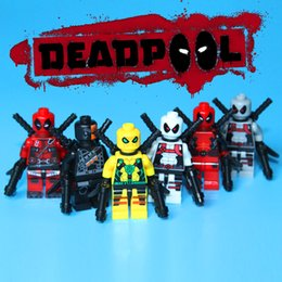 2017 6pcs lot Marvel Super Heroes Yellow Deadpool Building Blocks Sets Model Bricks Toys For Children Birthday's Gifts Toys