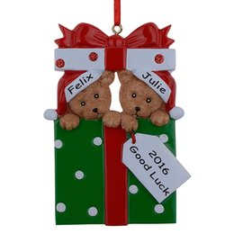 Wholesale Resin Bear Family Of 2 Christmas Ornament Personalized Gift Write Your Own Name For Holiday Home Decor Miniature Craft