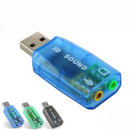 Accessoires audio portables en Ligne-USB Carte son USB 5.1 Carte de son 3D externe Adaptateur audio Mic Haut-parleur Interface audio pour ordinateur portable Micro Data PC Accessoires
