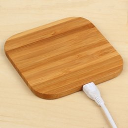 Wholesale Bamboo square wireless appliances Wireless transmitters perform filling QI wireless charging standard Can be OEM Bamboo Wireless Charger