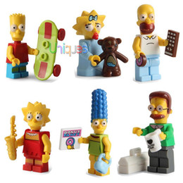 Wholesale 6pcs The Simpsons Family Bart Homer Minifigures Action Figures Model Building Block Bricks Model Same SY256 JLB