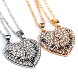 2016 New Mother's Day Gifts Full Diamond Love Heart Necklace Plated Gold and Silver Charm Pendants Mother Daughter Family Series Jewellery