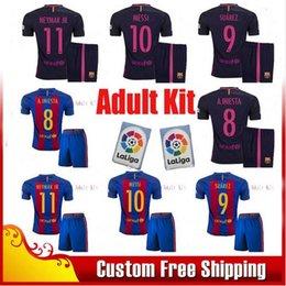 Wholesale New Best Quality BARCELONAIZERS Men KIT Soccer jersey MESSI NEYMAR JR SUAREZ PIQUE HOME AWAY camiseta de foot barcelonaes