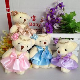 Wholesale 12CM pp cotton kid toys plush doll mini small teddy bear flower bouquets bear for wedding