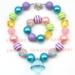 fashion jewelry blue waterdrop pendant green purple stripe beads Easter rhinestone beads chunky girl bubblegum kids Necklace&bracelet set