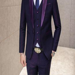 Wholesale Groom Wedding Suits Men s Korean Version of Slim Fight Color Three piece Suit Men s Best Man Dress Small Suit