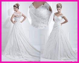 Wholesale Hot sale New Design Amazing White Beadwork Lace Applique Cap Sleeve A Line Wedding Gown Bridal Dresses