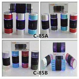Wholesale C A C B Mini Wireless Bluetooth Speaker LED Light Flash Super Bass Metal Portable BeatBox Handfree Mic Stereo Music Player C85A C85B