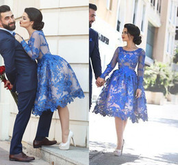 2016 New Arabic Cocktail Dresses Jewel Neck Long Sleeves Lace Appliques 3D Floral Short Knee Length Royal Blue Party Dress Homecoming Gowns