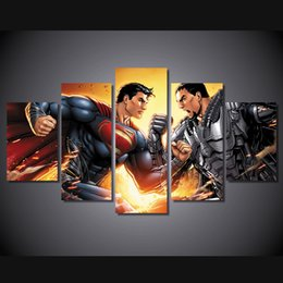 Wholesale 5 HD Printed Superman Animation Painting Canvas Print room decor print poster picture canvas