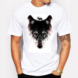 2016 New Fashion Summer T Shirt Men Printing Forest Wolf O-Neck Cotton Personality Man T-Shirt Fitness Tshirt Homme Men Clothing