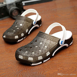 Wholesale home slipper Fashion Brown PVC Crocodile low heel Shoes Mens Adult high Sandals Summer Spring Autumn Hole US Size Clogs