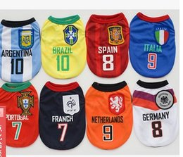 Wholesale 2016 Dog Apparel spring summer dog world cup clothes pet clothes vest production and processing spot team