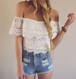 White Lace Blouse Tropical Blusa Blusas Top Woman Clothes Hollow Top lace white short Womens Tops Fashion 2015 off shoulder
