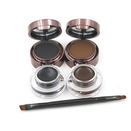 Eyebrow Powder Eyebrows +Eyeliner Gel Long-Wear Gel Eyeliner Brown With Brush 12pcs 2color 24hours Waterproof Sweat Eye Brow M1096