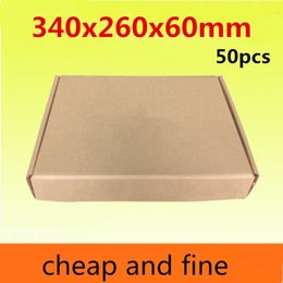 340x260x60mm 50pcs High quality wholesale kraft paper boxes Thicken three floor fluting kraft paper packaging coat etc caisses