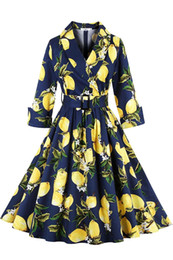 Wholesale 2016 Elegant Autumn V Neck Lemon Dresses Retro Floral Print Vintage Audrey Hepburn style Long Sleeve Casual Dress Plus Size dresses FS0359