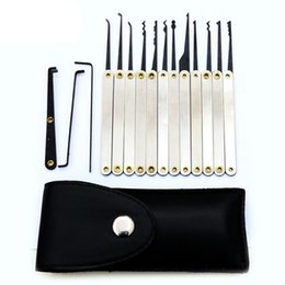 15pcs Lock Picks Sets Stainless Handles Hook Removing Key Set Lockpick Locksmith Tools Lock Opener Unlock Kit With PU Bag