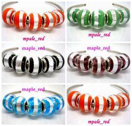 Wholesale 50pcs Fashion Around Silver Foil Design Round Lampwork Glass Beads Silver Plated Fit European Charm Bracelet