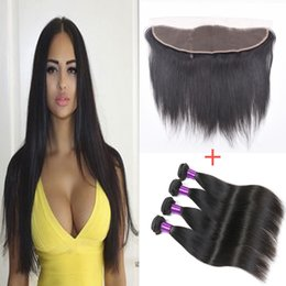 Wholesale 5 Brazilian Straight Human Hair Bundle With lace Closure frontal Closure Cheap Best a Grade Human Hair Weft