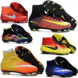 Wholesale Silver Satin Slip - Cheap 2016 Kids High Ankle soccer cleats Children Boys CR7 Superfly FG TURF Football Boots Mens women Outdoor indoor Soccer shoes size 35-46