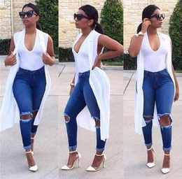 2016 Fall New Women Ripped Jeans High Waist Denim Pants Elasticity Skinny Destroy Knee Hole Boyfriend Jeans For Women