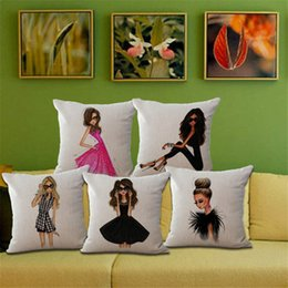 2017 cheveux amicaux Hot Selling Urban Cheveux longs Fille Coton Lin Dossier Pillow Case Pièces décoratives Literie Set Livraison gratuite 240466 peu coûteux cheveux amicaux