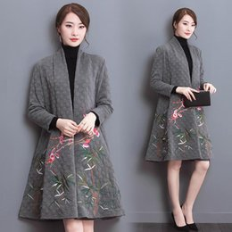 Wholesale In the autumn of new products national wind original design cotton thickening embroidery loose big yards Women dust coat
