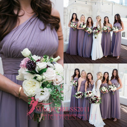 2019 Boho Beach Purple Chiffon Bridesmaid Dresses A-Line One-Shoulder Backless Custom Party Prom Gowns Cheap Vintage Maid of Honor Dress