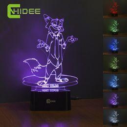 Wholesale USB Novelty Baby Led Night Light Nick Zootopia Cartoon Color Change D Lamp as Home Decor Children Desk Table Lampara Infantil