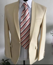 Real picture Beige Wedding Tuxedo Suits Slim fit Mens Suits For Groom and Groomsmem Custom Made Formal Prom Suits ( Jacket+Pants+Vest+Tie)