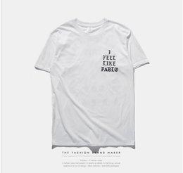 Wholesale Mens Print Sportwear black white T Shirt SEASON i feel like pablo Tee short Sleeve O neck T Shirt Kanye West Letter