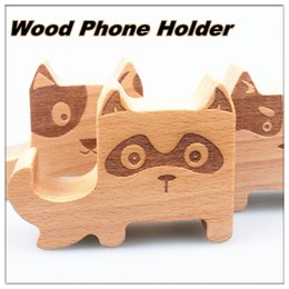 Wholesale Wood Phone Holder Multi function Holder cartoon dog wooden stand Log material for mobile phone Multi function