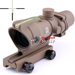 Wholesale Tan Trijicon ACOG x32 Green Illuminated Crosshair Ballistic Reticle Tactical rifle Scope For Air Gun Airsoft hunting