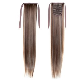 Long Straight Tail 22inch 55cm 100g #8 613 Mixed Color Synthetic Hair Extensions Free Shipping Drawstring Ponytails Ponytails Hair Extension