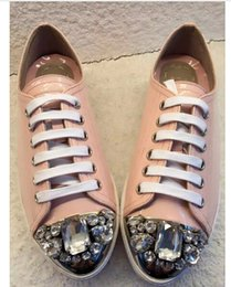 hot sale newest 2016 fashion brand design rhinestone comfortable lace-up women's platform shoes genuine leather lovely girl pink sneakers