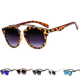 Wholesale-Hot Vintage Women Men Sunglasses Black Leopard Round Frame Cat Eye Eyewear Eye Glass