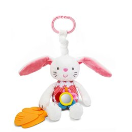 Wholesale 0 Baby Toy Soft Rabbit Bunny Plush Doll Baby Crib Bed Hanging Animal Toy Teether Multifunction Doll Kids Toy