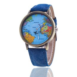 Wholesale New top brand cowboy canvas table student world map belt quartz watches Wristwatch birthday gift free shippinig