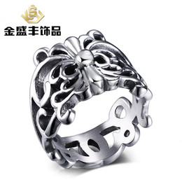 Wholesale 50pcs European and American vintage jewelry titanium steel cross pattern stainless steel ring Jewelry Men s Rings RC