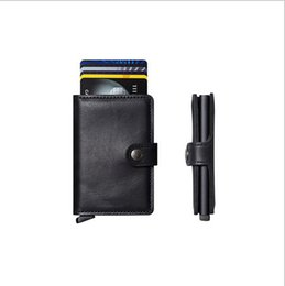 Wholesale Brand New Mini Wallet with Automatic Slide Card Holder Credit Card Case Card Organizer Rfid Card Protector Men Purse Women