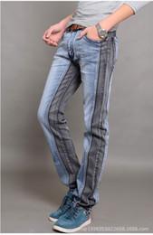 Wholesale Hot Sale New Men Brand Paris Runway Stretch Jeans Washed Acid Light Black Blue Personality Hit Color Skinny Jeans Men Plus Size
